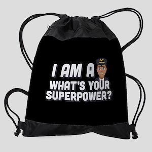 Emoji Pilot Superpower Drawstring Bag