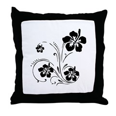 Illustrated Graphic Flower Throw Pillow
