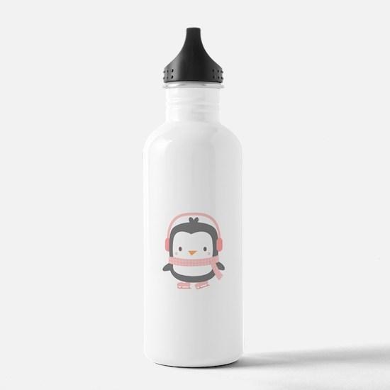 Cute Penguin with Ear Muffs Sports Water Bottle