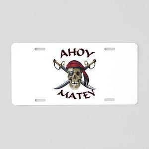 Pirate Skull Ahoy Aluminum License Plate