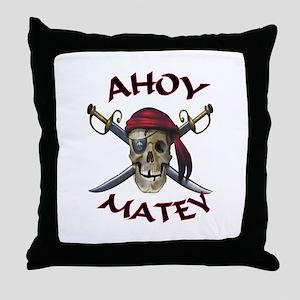 Pirate Skull Ahoy Throw Pillow