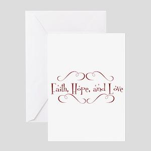 faith, hope, love Greeting Cards