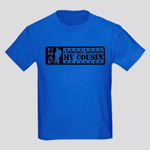 Proudly Support Cousin - USAF Kids Dark T-Shirt