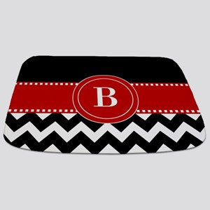 Red Black Chevron Personalized Bathmat