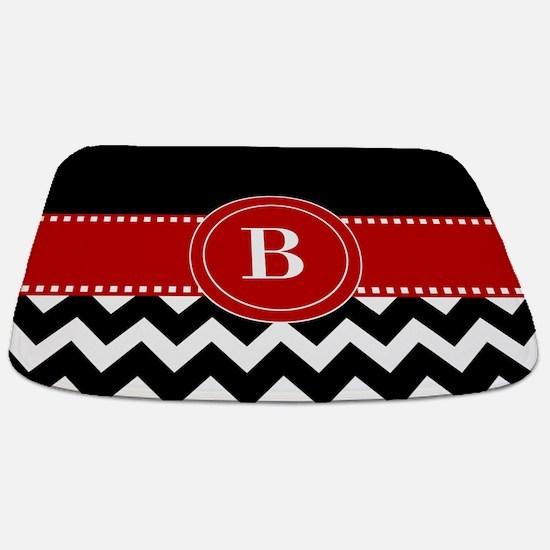 Red Black Chevron Personalized Bathmat