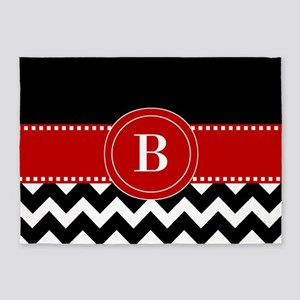 Red Black Chevron Personalized 5'x7'Area Rug