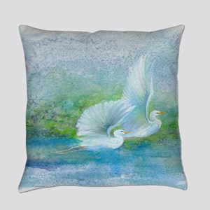 Egrets fly together Everyday Pillow