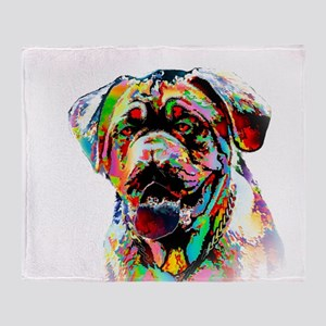 Colorful Bulldog Throw Blanket