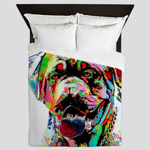 Colorful Bulldog Queen Duvet