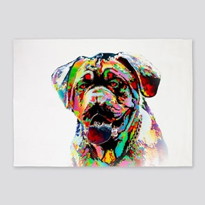 Colorful Bulldog 5'x7'Area Rug