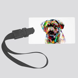 Colorful Bulldog Large Luggage Tag