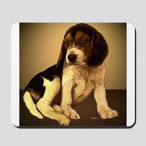 Beagle Puppy Painting as Folk Art Mousepad