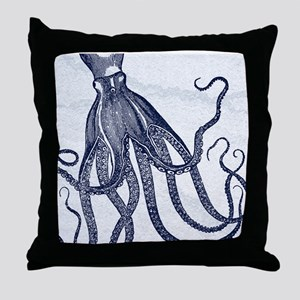 Vintage Octopus in Dark Blue with Marbling Backgro