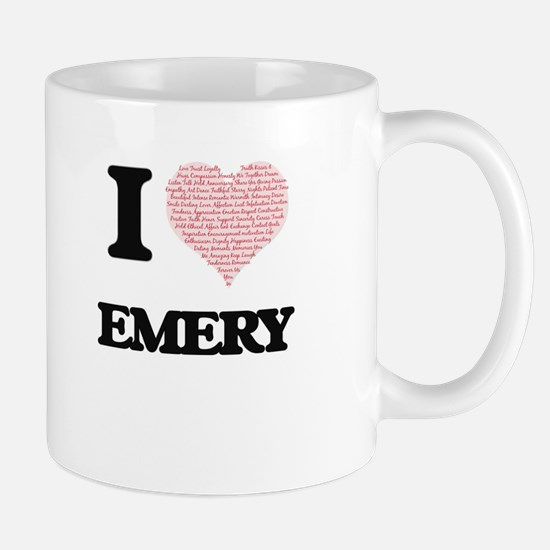 I love Emery (heart made from words) design Mugs