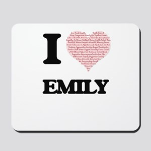 I love Emily (heart made from words) des Mousepad