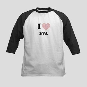 I love Eva (heart made from words) Baseball Jersey