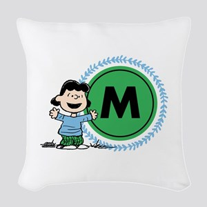Peanuts Lucy Monogram Woven Throw Pillow