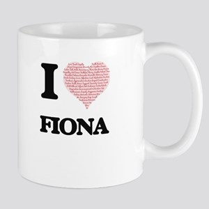 I love Fiona (heart made from words) design Mugs