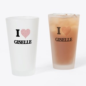 I love Giselle (heart made from wor Drinking Glass