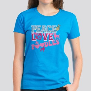 Peace Love and POODLES! Women's Dark T-Shirt