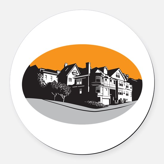 American Mansion House Oval WPA Round Car Magnet
