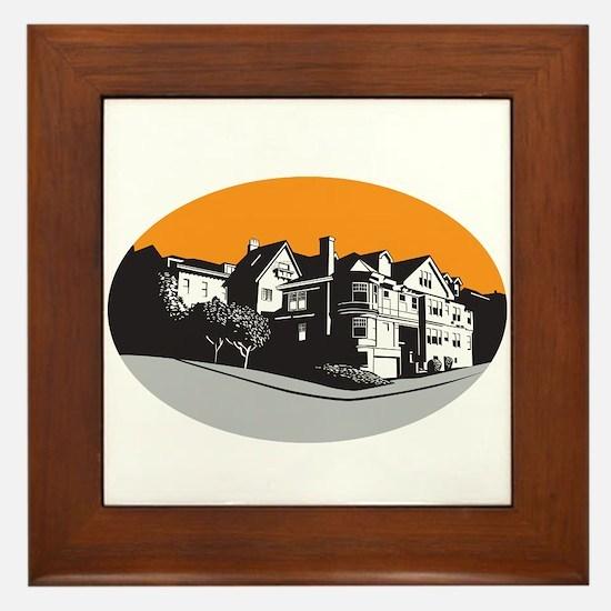 American Mansion House Oval WPA Framed Tile