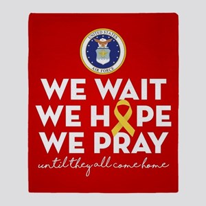 USAF We Wait Hope Pray Throw Blanket