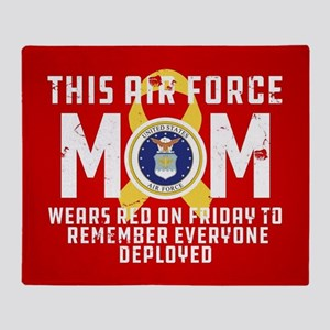 USAF Mom Wears RED Throw Blanket