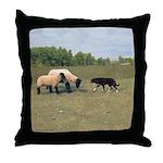 Dog Meets Sheep Throw Pillow