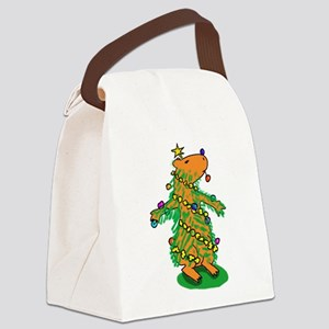 Christmas Tree Capybara Canvas Lunch Bag