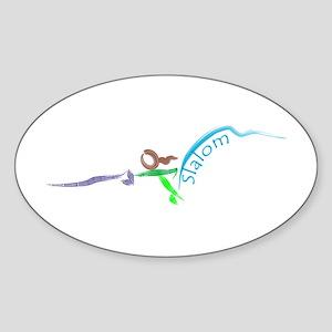 Girl Slalom Skier, brush strokes Sticker