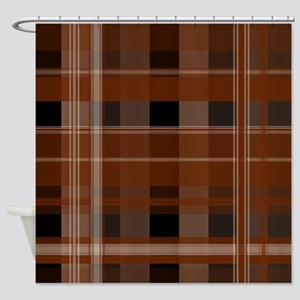 Brown and Black Plaid Shower Curtain