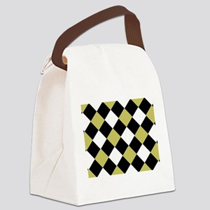Black and Old Gold Harlequin Patt Canvas Lunch Bag