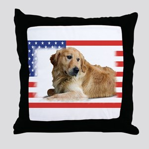 USA Golden Retriever-1 Throw Pillow