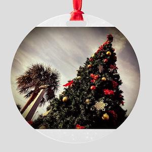 Fernandina Beach Christmas Tree Round Ornament