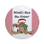 Bear World's Best Bus Driver Ornament (Round)