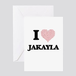 I love Jakayla (heart made from wor Greeting Cards