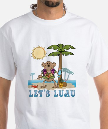 Lets Luau Boy Monkey White T-Shirt