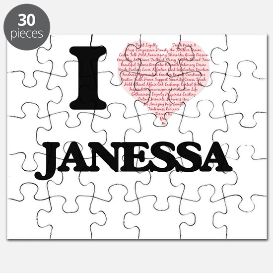 I love Janessa (heart made from words) desi Puzzle