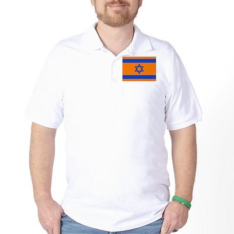 Orange Israeli Flag Golf Shirt