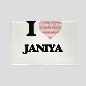 I love Janiya (heart made from words) desi Magnets