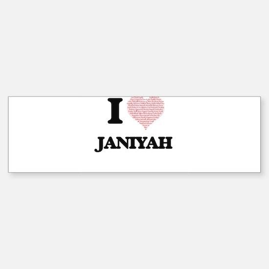 I love Janiyah (heart made from wor Bumper Bumper Bumper Sticker