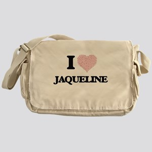 I love Jaqueline (heart made from wo Messenger Bag