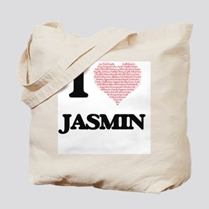 I love Jasmin (heart made from words) des Tote Bag