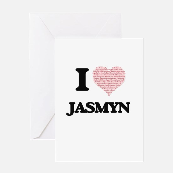 I love Jasmyn (heart made from word Greeting Cards