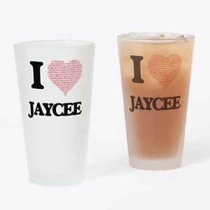 I love Jaycee (heart made from word Drinking Glass