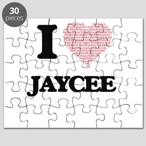 I love Jaycee (heart made from words) desig Puzzle