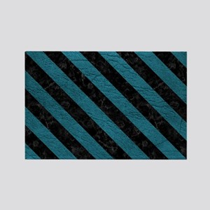 STRIPES3 BLACK MARBLE & TEAL LEAT Rectangle Magnet