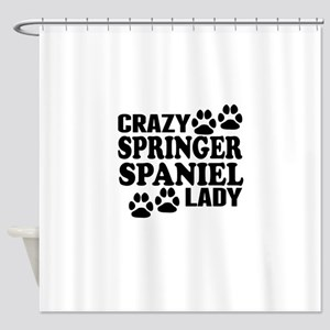 Crazy Springer Spaniel Lady Shower Curtain