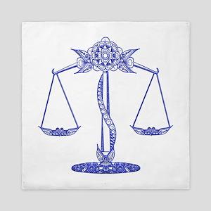 LIBRA Balance Scale BLUE Zodiac Sign Queen Duvet
